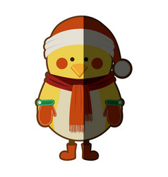 silhouette of chicken with boots scarf and gloves vector image