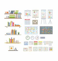 Office essentials - modern flat icons set vector