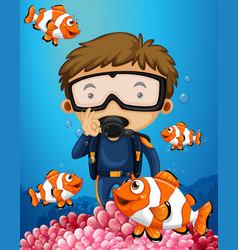 Man diving underwater with many clownfish vector