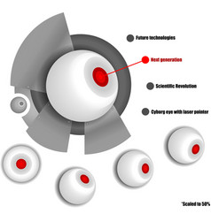 Cyborg eye with red laser pointer vector