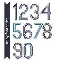 Blue slim numbers single color delicate digits vector