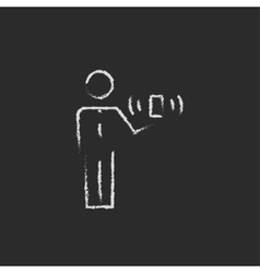 Man and wireless signal drawn in chalk vector