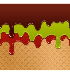 Flowing berry jam green jelly and chocolate on vector