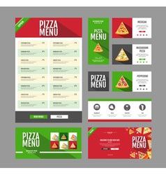 Flat style pizza menu design document template vector
