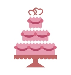 Pink wedding cake with hearts and beads flat vector