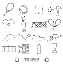 Tennis sport theme black outline icons set eps10 vector