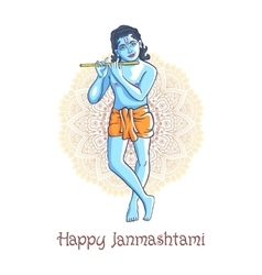 Cartoon krishna with a flute greeting card for vector