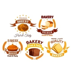 Bakery shop product labels set vector