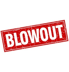 Blowout red square grunge stamp on white vector