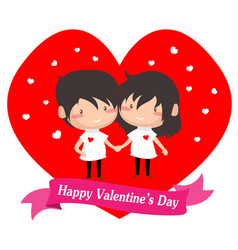 boy and girl love for valentine vector image