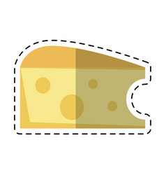Cartoon cheese slice snack icon vector