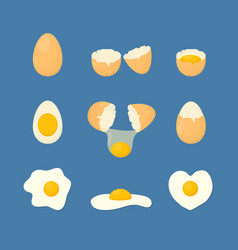 cartoon fried and fresh eggs set vector image vector image
