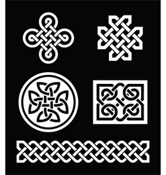 Celtic knots patterns on black background - vector image vector image