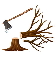 Chopping wood with axe vector