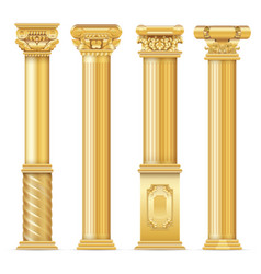 Classic antique gold columns set vector