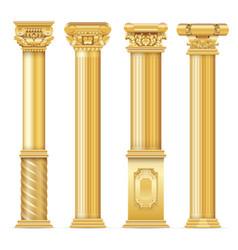 classic antique gold columns set vector image