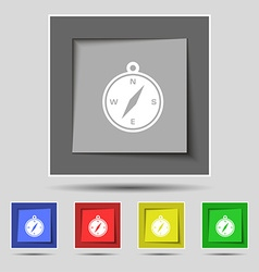 Compass icon sign on original five colored buttons vector