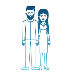 Couple in degraded blue silhouette and him with vector
