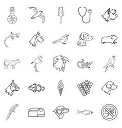 Domesticated animals icons set outline style vector