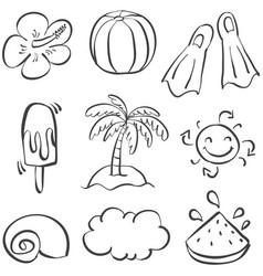 Doodle of element beach summer vector