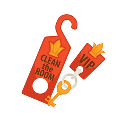 Door tag with sign clean room and vip key vector