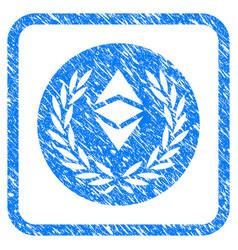 Ethereum classic laurel coin framed stamp vector