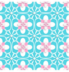 Floristic turquoise and pink tile ornament vector