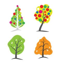 four seasons tree symbols vector image