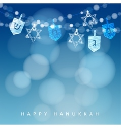 Hanukkah blue background with string of lights vector