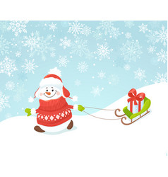 Happy snowman with sled vector