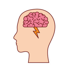 human face silhouette with brain with ray in vector image
