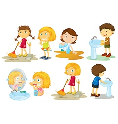 Kids engaging in different activities vector image