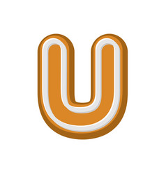 letter u gingerbread peppermint honey-cake font vector image vector image