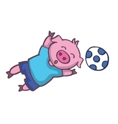 Pig playing football cartoon design vector