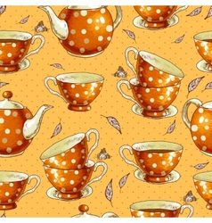 Seamless background with cups of tea and pots vector image
