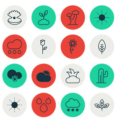 Set of 16 world icons includes cactus oak bush vector