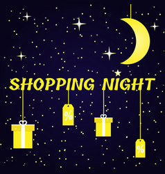 Shining banner for shopping night vector