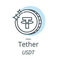 Tether cryptocurrency coin line icon of virtual vector