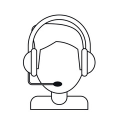 Video gamer with headset thin line vector