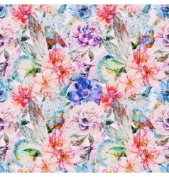 Watercolor flowers pattern vector image vector image