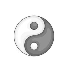Yin yang icon black monochrome style vector