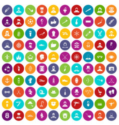 100 beard icons set color vector
