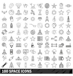 100 space icons set outline style vector