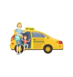 Mother with daughter entering yellow taxi car vector