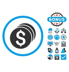 Dollar coins flat icon with bonus vector