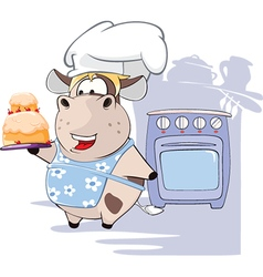 Gourmet chef cow cartoon vector