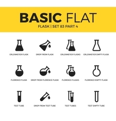 Basic set of flask icons vector