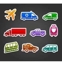 Set of stickers transport color icons vector