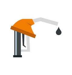 orange gasoline pump nozzle icon flat style vector image