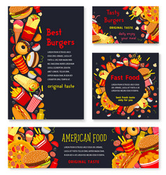 Banner and posters for fast food meals vector